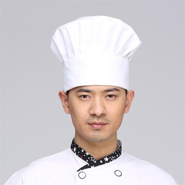 Mũ bếp vải màu trắng hình nấm