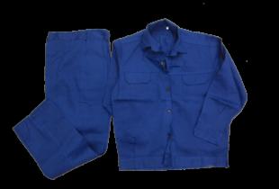 Quần áo bảo hộ công nhân vải chéo L1 dày màu xanh